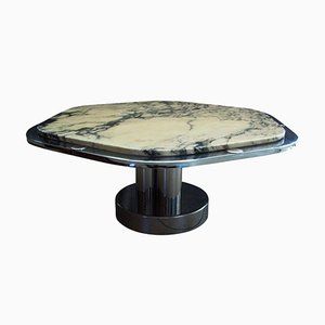 French Chrome & Carrara Marble Coffee Table, 1968