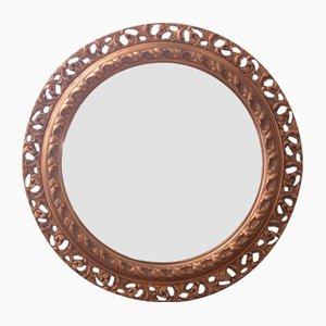 Espejo convexo vintage pequeño dorado, años 30