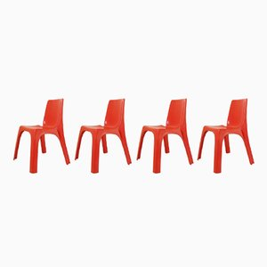 Sedie Space Age in plastica rossa di Giorgina Castiglioni, Giorgio Gaviraghi, e Aldo Lanza per Kartell, anni '70, set di 4