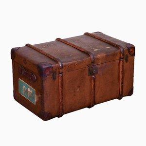 Baúl ligero vintage de fibra de lino marrón, años 40