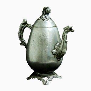Antike viktorianische Britannia Teekanne aus Metall