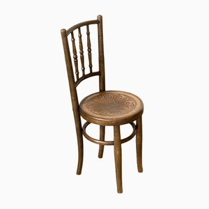 Sedia da bambino antica in legno curvato di Fischel