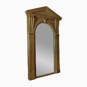Espejo victoriano arquitectónico antiguo gigante de pino