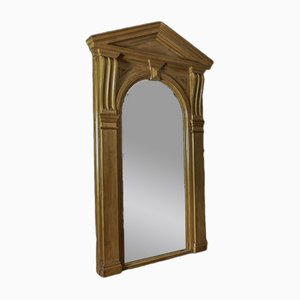 Grand Miroir Architectural Victorien Antique en Pin
