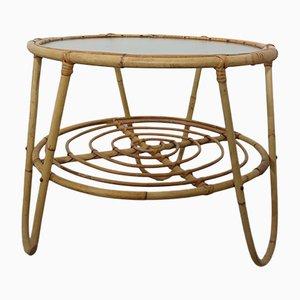 Italienischer Couchtisch mit Gestell aus Bambus & Tischplatte aus Glas, 1950er
