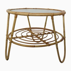 Mesa de centro italiana de bambú y vidrio, años 50