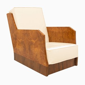 Art Deco Burr Elm Armchair from Harry Norris, 1930s