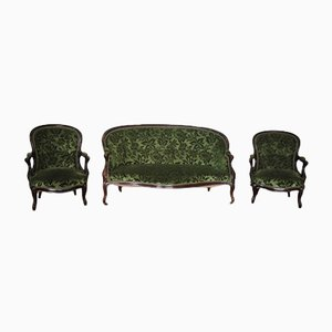 Antique French Sofa and Armchairs, Set of 3