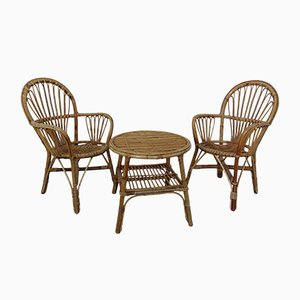 Italian Bamboo Armchairs & Table, 1950s, Set of 3