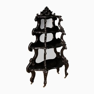 Etagére in legno ebanizzato con specchi, Italia, anni '20
