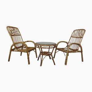 Fauteuils Mid-Century en Bambou et Table en Verre, Italie, 1950s, Set de 3