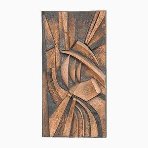 Bas-Relief Abstrait en Céramique par M. De Cooman, 1970s