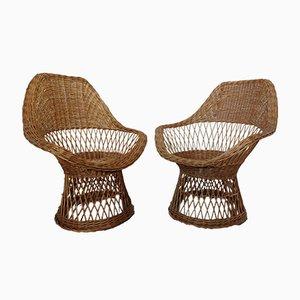 Sillas francesas de bambú, años 70. Juego de 2