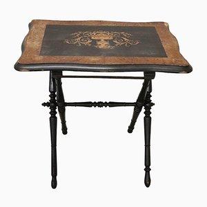 Tavolino antico pieghevole intarsiato, fine XIX secolo