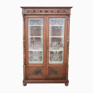 Antique Carved Walnut Bookcase, 1880s