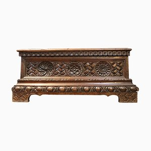Antique Carved Walnut Jewelry Box, 1820s