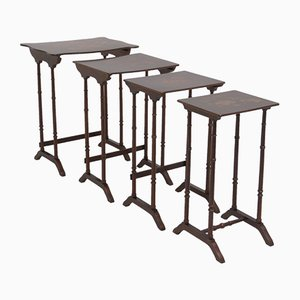 Antique Nesting Tables with Flower Motif