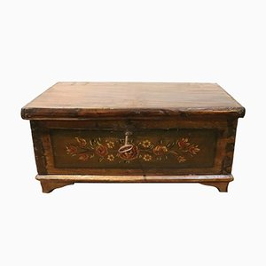 Antique Hand-Painted Poplar Jewelry Box, 1850s