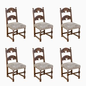 Derbyshire Style Oak Chairs, 1920s, Set of 6