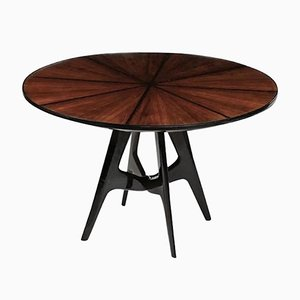 Italian Round Wood & Glass Dining Table, 1950s