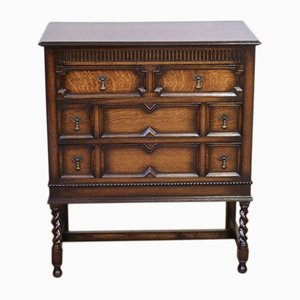 Vintage Jacobean Style Oak Chest of Drawers