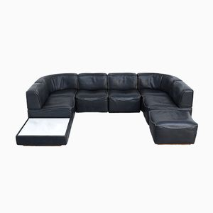 DS 15 Black Leather Sofa Set from de Sede, 1970s