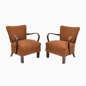 Brown Spring Chairs by Jindřich Halabala, 1930s, Set of 2