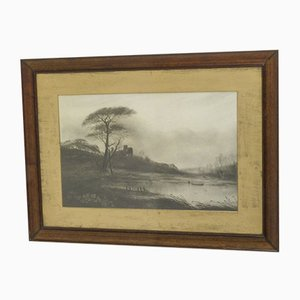 Victorian Black & White Waterscape Print