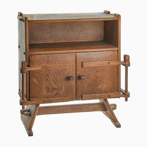 Alpine Carved Chest of Drawers with Doors, 1930s