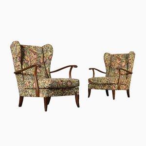 Italienische Mid-Century Sessel mit Gestell aus gebeizter Buche, 2er Set