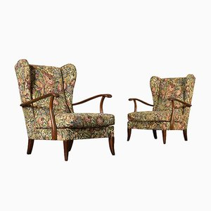 Mid-Century Italian Stained Beech Armchairs, Set of 2