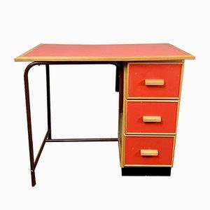 Scrivania piccola vintage rossa in legno