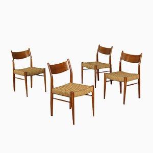 Italienische Vintage Stühle mit Gestell aus Eiche & Sitzgeflecht, 1960er, 4er Set