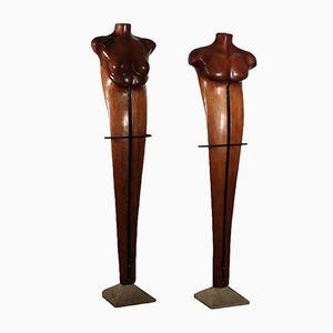 Skulpturen aus Kirschholz von Mario Dal Fabbro, 1982, 2er Set
