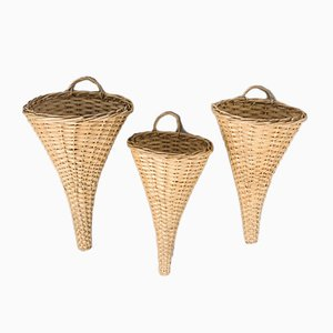 Wicker Hanging Baskets, 1970s, Set of 3