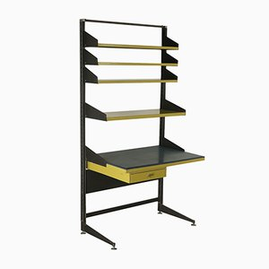 Vintage Italian Lacquered Metal & Skai Shelving Unit with Desk, 1960s