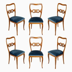 Vintage Velvet Dining Chairs, 1940s, Set of 6