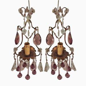 Antike Wandlampen aus Bronze & Glas, 2er Set