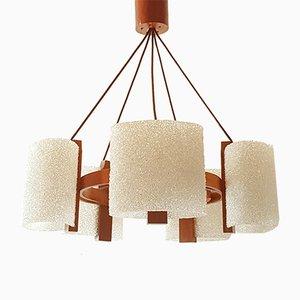 Lámpara de araña danesa de teca y resina de granito, años 60