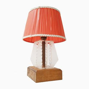Vintage Plexiglas & Wood Bedside Table Lamp