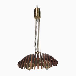 Wood & Brass Ceiling Lamp from Esperia, 1960s