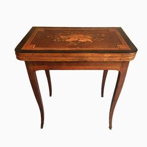 Mesa de juego Louis XV antigua con incrustaciones
