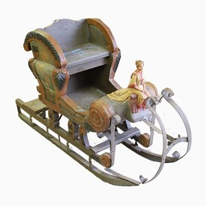Vintage Wood & Metal Sled, 1930s