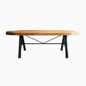 Table Industrielle en Chêne avec Structure en Fonte, 1950s
