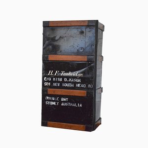 Baúl de viaje australiano vintage de madera y acero, años 30