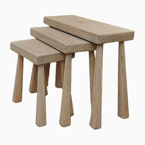 Solid Oak Nesting Tables, 1950s