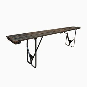 Vintage Industrial Wood & Metal Folding Bench, 1930s