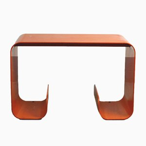 French Orange Metal Waterfall Side Table, 1970s