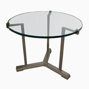 Round Vintage Silver Brass Side Table by Peter Ghyczy, 1970