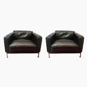 Vintage Italian Leather Lounge Chairs, 1980s, Set of 2